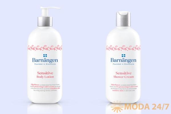 Крем-гель для душа и лосьон для тела Barnängen для чувствительной кожи. Косметика для ухода за телом Barnängen