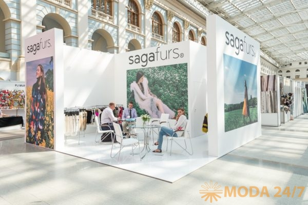 Стенд пушного аукционного дома SAGA Furs. Выставки «Шапо» и «МосФур» в Москве