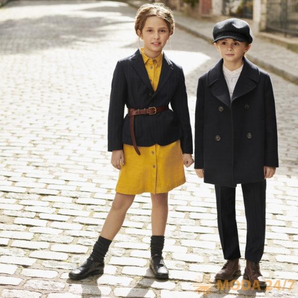 Жакет для девочки и двубортное пальто для мальчика Uniqlo x de la Fressange. Инес де ля Фрессанж для UNIQLO