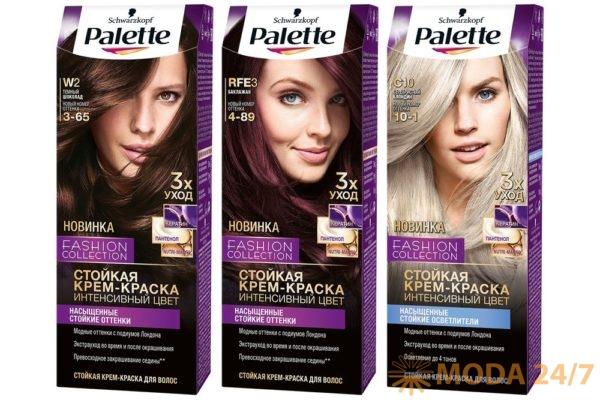 Темный шоколад (W2 (3-65)) – шоколадный оттенок волос с золотистым отливом придаст образу естественность и неповторимый стиль. Баклажан (RFE3 (4-89)) – притягательный красный оттенок с фиолетовыми переливами сделает образ ярким и актуальным. Серебристый блондин (C10 (10-1)) относится к насыщенным стойким осветлителям, с его помощью можно достичь ослепительного блонда с пепельным оттенком.Цвета Palette Fashion Collection на подиумах туманного Альбиона