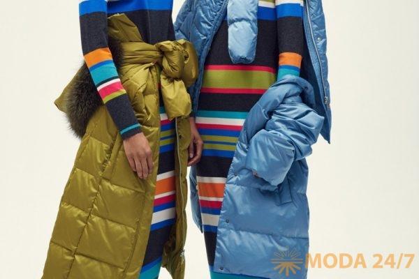Контрастные полоски на брюках и топах добавляют современную новую нотку мягким струящимся силуэтам. Пижамные костюмы с длинными свободными жакетами и брюками в тон носят распахнутыми или завязанными на пояс днем в офис. Laurèl AW-2018/19 (осень-зима 2018/19)