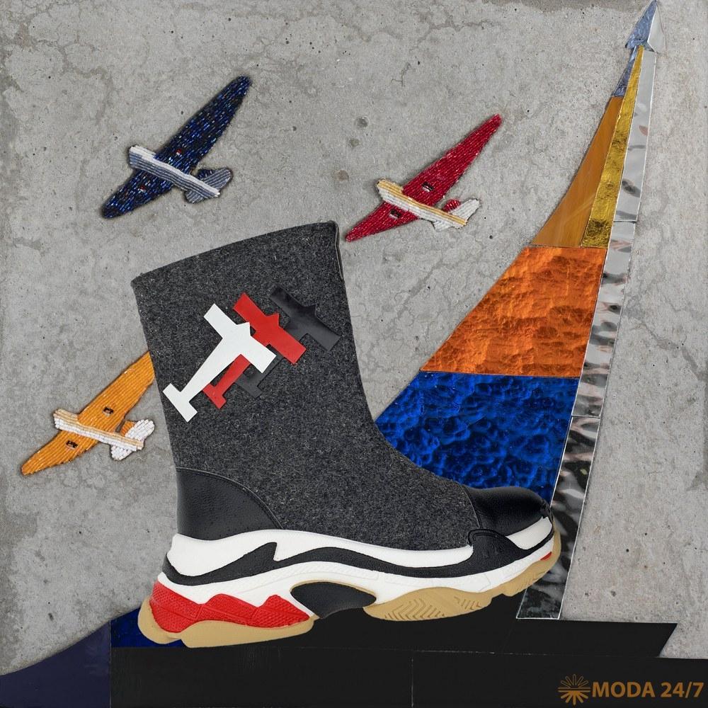 Ботинки с аппликацией аэропланами. Olga Soldatova Tervolina