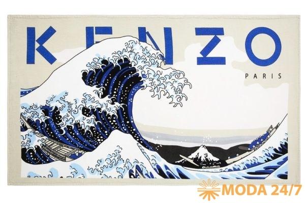 Kenzo by YD пляжное полотенце Wave известного японского художника Кацусики Хокусая. (葛飾 北斎). Yves Delorme приглашает на пляж