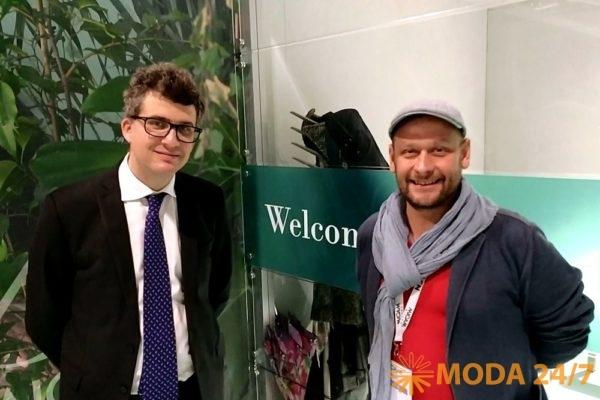 CEO Assocalzaturifici и выставки Micam Milano Томмазо Канчеллара (Tommaso Cancellara) и главный редактор MODA 24/7 Илья Тихонов. #Micam 87 сезон