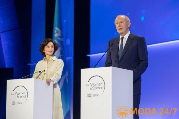 Одрэ Азуле (Audrey Azoulay) и Жан-Поль Агон (Jean-Paul Agon). Международная премия «Для женщин в науке» фонда L'Oreal и UNESCO