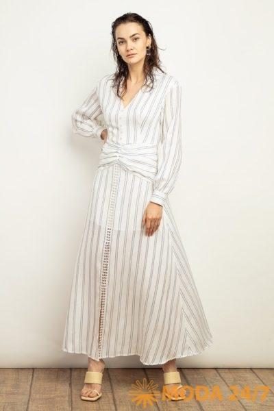Платье в пол из смесовой ткани в полоску
