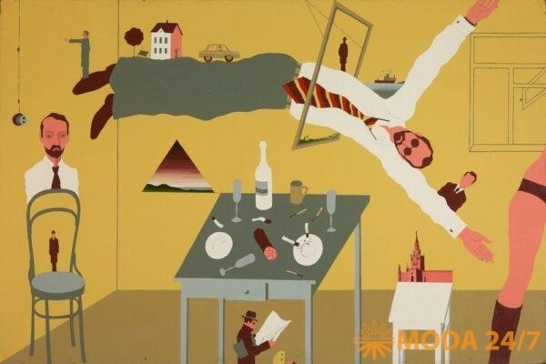 НЕНАВСЕГДА. 1968-1985. Московская вечеринка. 1971 (Пивоваров В.Д.) Оргалит, эмаль. 80 х 120. Государственная Третьяковская галерея