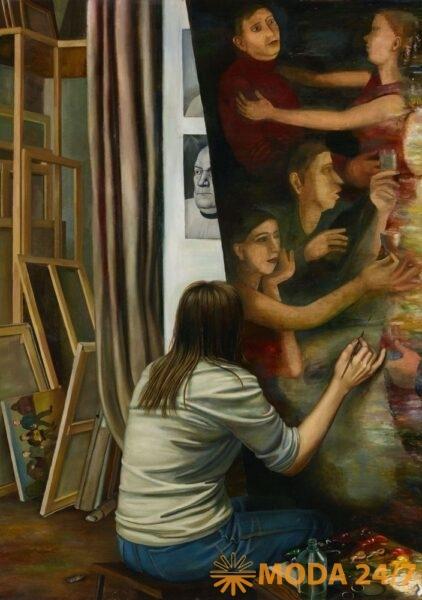 Мастерская. 1983 (Назаренко Т.Г.) Левая часть триптиха. Холст, масло. 140 × 100. Государственная Третьяковская галерея