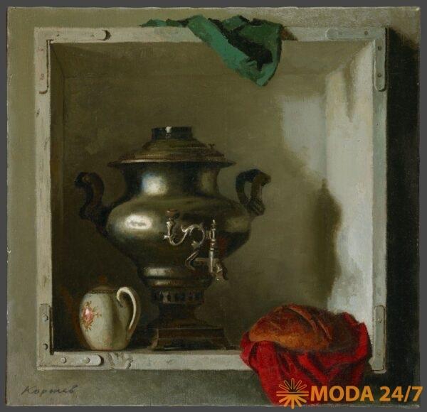 Самовар. 1984 (Коржев Г.М.) Холст, масло. Государственная Третьяковская галерея