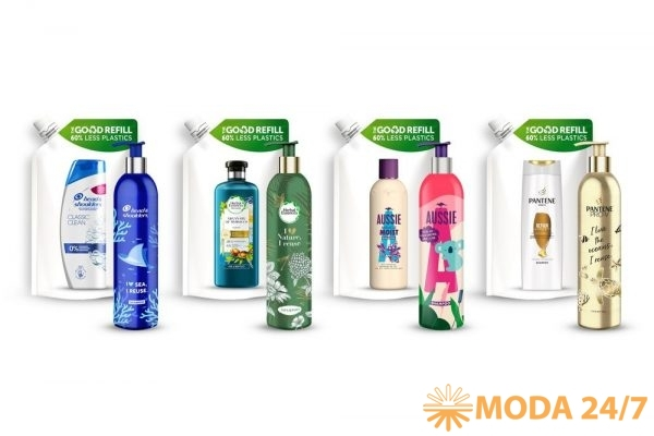 #ответственнаякрасота P&G Beauty. Алюминиевые бутылки и сменные блоки шампуней Pantene, Herbal Essences, Head&Shoulders и Aussie