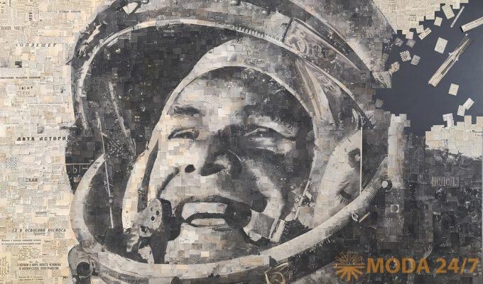 Алексей Бегак. «Гагарин». Коллаж. Газеты за 13.04.1961. Космос наш! в работах художников XXI века