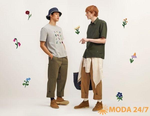 Юникло и Джонаттан Андерсон весна-лето 2021. Полосатая панама, футболка с цветочной вышивкой, брюки, сорочка и рубашка