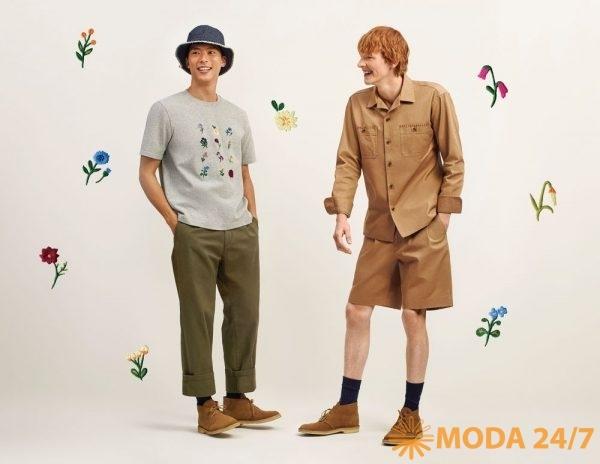 Полосатая панама, футболка с цветочной вышивкой, брюки, рубашка и шорты
