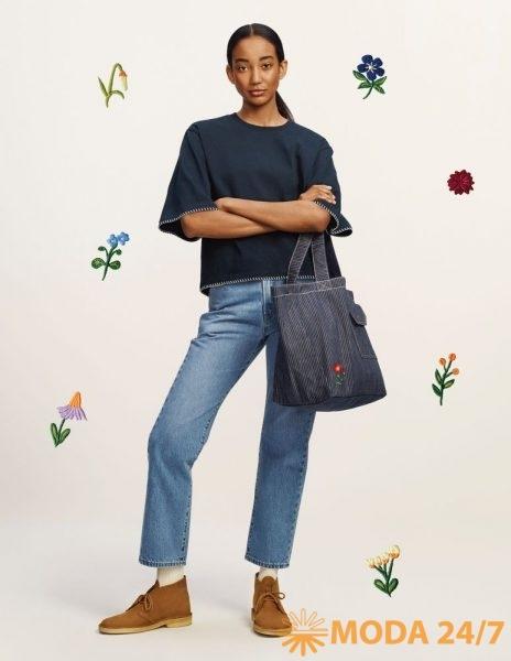 Блузка, джинсы и полосатая сумка-шоппер