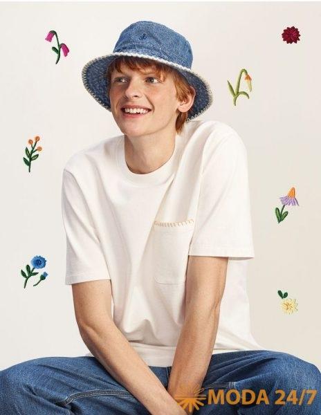 Джинсовая панама, футболка и джинсы