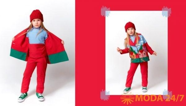Алина Березина. Красный комплект (осень) состоит из пальто, водолазки, прямых брюк, превращающихся с помощью молний в брюки-клеш, дополнительно – шапочка и круглая сумочка