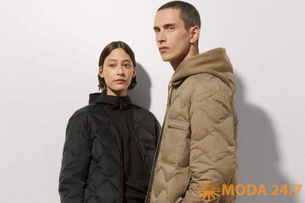 Черная мужская пуховая куртка, черная женская толстовка, бежевая мужская пуховая куртка и бежевая мужская толстовка с капюшоном